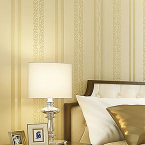 新巢 环保无纺布壁纸 简欧风情烫金竖条纹 卧室 客厅电视背景墙纸