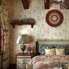 歌诗雅墙纸 卧室客厅满铺 美式田园壁纸复古乡村风格壁纸 54