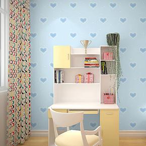 辛格墙纸儿童房壁纸卧室儿童男卡通无纺布爱心粉色女孩公主房特价