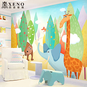 西诺大型壁画墙纸 卧室床头儿童房幼儿园背景墙卡通壁纸 动物之森