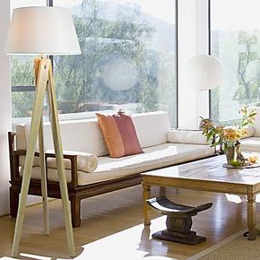 【绽放】美克美家北欧实木质欧式时尚创意落地灯 美式三脚架客厅