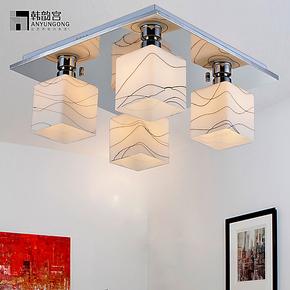 现代简约欧式田园客厅吸顶灯创意玻璃方形主卧室房间饭厅餐厅吊灯
