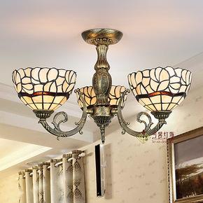 欧式田园3头客厅吸顶灯卧室书房灯创意餐厅灯具蒂凡尼灯饰 玻璃