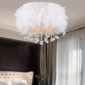 【林森】现代个性灯饰吊灯创意 餐厅卧室灯水晶灯羽毛灯8018
