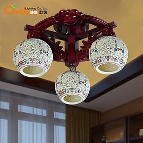 中式景德镇实木复古三头吸顶灯灯饰客厅床头卧室书房简约创意灯具
