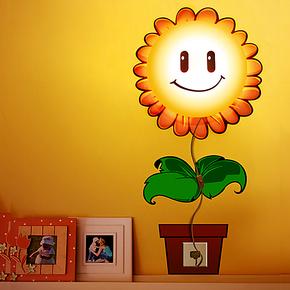 创意花颜3D墙纸灯 卧室床头灯 卡通宝宝装饰墙贴壁纸灯儿童房壁灯