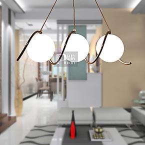 品信 创意餐厅灯长吊灯球形led三头客厅卧室床头房间灯饰3180/3P