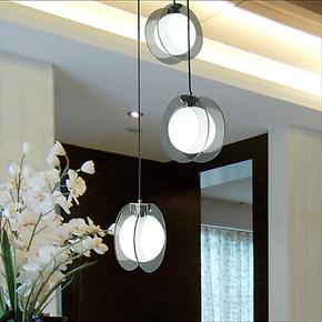 宜家现代简约个性创意玻璃吊灯餐厅书房卧室单头三头吊灯饰