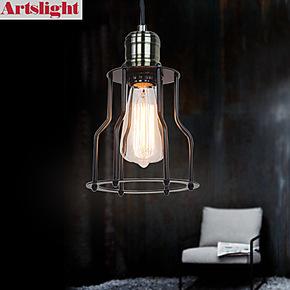 【Artslight】美式乡村工业风 Loft 创意餐厅卧室复古小铁架吊灯