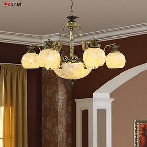 羽柏灯具 创意美人鱼贝壳 地中海田园 欧式吊灯 客厅卧室餐厅灯饰