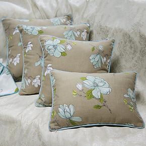 田园咖啡底蓝色小花床头大靠垫沙发靠垫抱枕靠枕含芯/靠垫套6065