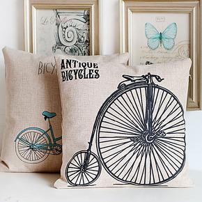 复古自行车 文艺简约设计  靠垫沙发抱枕/办公靠枕 含枕芯 送女生