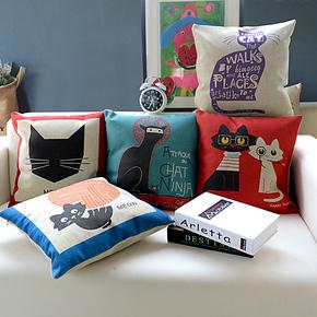 新品 优麦 zakka办公室汽车可爱卡通沙发棉麻靠垫靠枕抱枕 猫咪