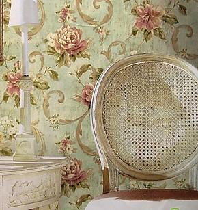 包邮送胶 布鲁斯特风格 复古美式田园大花卧室壁纸 纯纸客厅墙纸