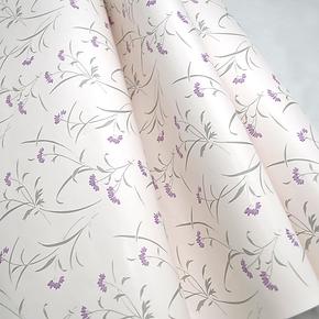 客厅卧室背景墙面装饰自粘防水壁纸 浅紫田园浪漫小碎花PVC墙纸