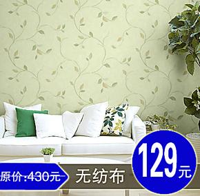 天丽墙纸 正品牌 无纺布壁纸 田园风格 小碎花 卧室温馨浪漫 绿色