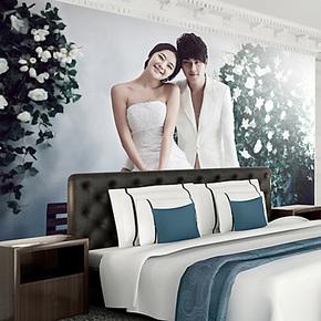 个性定制 艺术婚纱 电视背景墙纸壁纸 客厅墙布卧室沙发壁画自粘