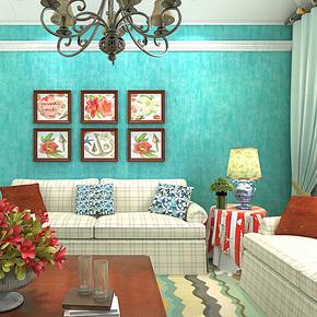 歌诗雅墙纸 客厅卧室电视背景 时尚英伦简约艺术纯色蓝色壁纸199