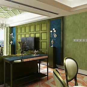 将旗墙纸 客厅卧室背景墙时尚简约地中海风绿色壁纸F86016艺术绿