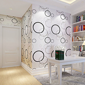 PVC自粘墙纸 黑灰圆圈客厅卧室电视背景墙特价壁纸橱柜翻新墙贴