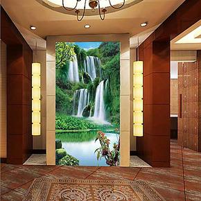 大型壁画壁纸客厅卧室玄关个性风景沙发电视背景墙纸画瀑布山水