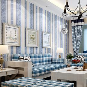 雁归来 墙纸 地中海风格 现代简约客厅 壁纸温馨 卧室 竖条纹蓝色