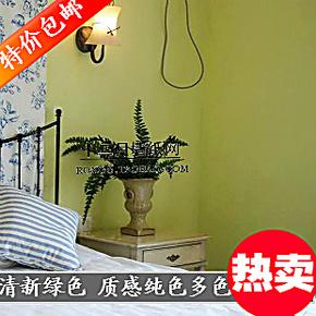 美式田园卧室壁纸 简约蓝色绿色墙纸纯色素色 客厅餐厅电视背景墙
