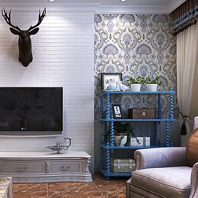 将旗壁纸 环保无纺布墙纸东南亚风格仿刺绣大马士革 卧室客厅壁纸