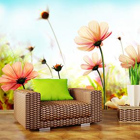 风景花卉蜜蜂精美电视背景墙纸壁纸 客厅卧室pvc自粘特价