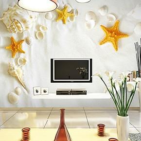 梦之雅风景海螺沙滩精美电视背景墙纸壁纸大型壁画客厅卧室无纺布