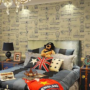 德艺美 精美儿童房无纺布墙纸 印花壁纸可爱环保卧室背景墙纸