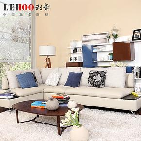 利豪真皮沙发领导者W05时尚简约现代环保头层牛皮+布转角组合沙发