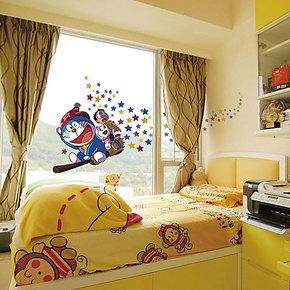 包邮特价 机器猫魔法师 儿童房卧室床头装饰 手绘彩色卡通墙贴纸