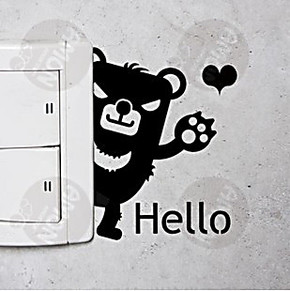艾蒙[可移除照片墙墙贴韩式鞋柜小熊开关特插座贴儿童房]小熊