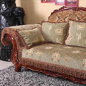 高档欧式布艺皮沙发垫坐垫贵妃组合沙发巾罩套飘窗垫防滑加厚定做