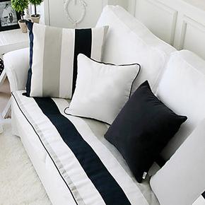 吉到家居 北欧宜家简约时尚沙发垫 黑白条纹布艺纯棉坐垫 可定做