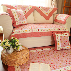 春全棉布艺防滑沙发巾绗缝沙发垫沙发坐垫贵妃飘窗垫红绿21省包邮