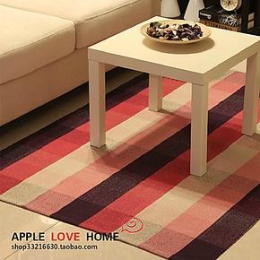 田园宜家风格纯棉手工编织紫粉格子地垫地毯防护垫飘窗垫沙发垫