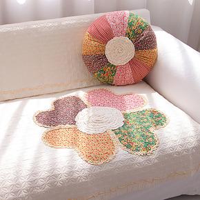 花街5号 花团布艺防滑沙发垫子  白色坐垫沙发罩特价飘窗垫绗缝