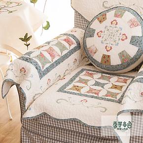 香芋谷色沙发垫布艺坐垫 美式乡村沙发坐垫鲁绣绗缝拼接防滑垫子