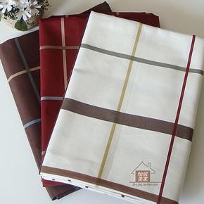 布料 纯棉帆布沙发窗帘布料 靠垫抱枕布料 欧美宜家格子 白/咖/红