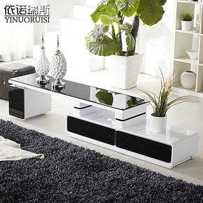 包邮 黑色烤漆 钢化玻璃 可伸缩 抽屉储物 电视柜 简约电视柜田园