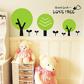 卡通墙贴儿童房 冰箱贴玻璃家装橱柜衣柜贴纸 卫生间墙贴画 树芽