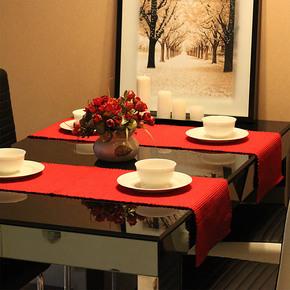 E家饰界 纯色纯棉中国红布艺桌布/餐桌布/桌旗 新婚礼物 装饰
