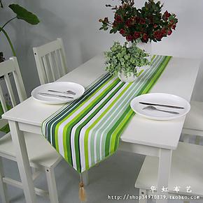 【华虹布艺】活性印染 纯棉加厚帆布桌布/桌旗(清新绿条)