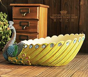 欧式复古宫廷收纳篮首饰盒韩国田园家居装饰东南亚风树脂孔雀果盘