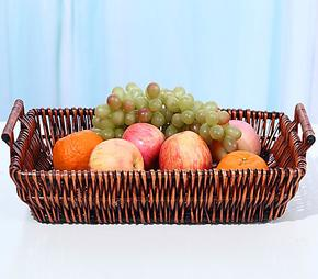 柳编 带提手水果盘 干果盘 家居收纳篮 面包筐 精致零食食品收纳