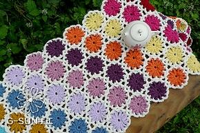 宜家欧式镂空钩花家居餐布桌布餐垫 钩编彩虹沙发毯地毯休闲毛毯