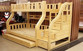 田园松木双层床 母子床 上下床 梯柜上下铺 高低床 松木儿童床