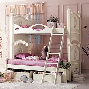 【天晴家居】法式双层床 大小家具 白色双层床上下床儿童床高低床